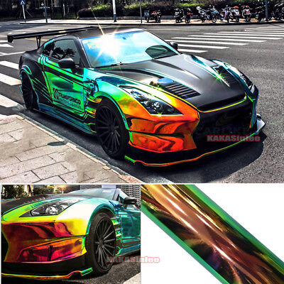 Black - Glossy Rainbow Magic Mirror Chameleon Chrome Car Vinyl Wrap Film Sticker