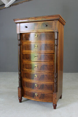 French Tall Narrow Walnut Chest of Drawers