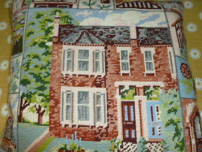 Stunning vintage house cottage design wool tapestry cushion cover canvas