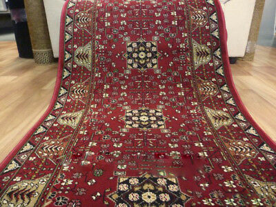 Persian Design Hall Runner Chorus 93 Red 80cm wide by the meter Soft Feel