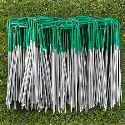 Green Artificial Grass Pegs U Shape Pins Ground Anchor Weed Control Fabric Steel