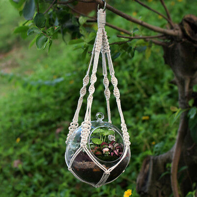 """20""""/51cm Pure Cotton Handmade Craft Knitted Macrame Plant Hanger Rope+Ring"""