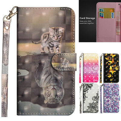 For iPhone 11Pro Max XR 7 8+ Pattern Magnet Leather Strap Wallet Flip Case Cover
