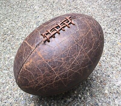 Genuine Old Vintage Antique 12-panel Tan Leather Rugby Ball c.1910