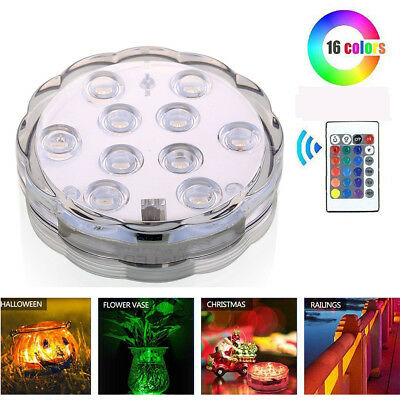 1PCS RGB LED Bulb Swimming Pool Light Remote Control Underwater Color Vase Decor