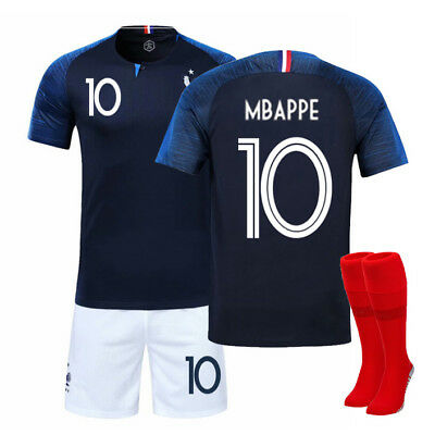 2018 World Cup France Football Short Sleeve Kit for 3-14Y Kids Soccer Suit+Socks