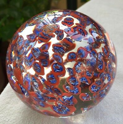 Jolie sulfure millefiori bleu rouge - Beautiful millefiori paperweight blue red