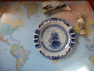 """Vintage Delft Hand Painted plate """" Whale Ship Wanderer  wrecked 1924"""""""