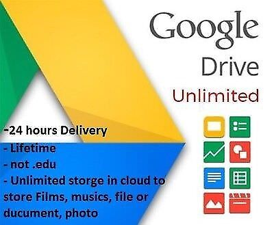 Unlimited Google Drive Cloud Storage Account [Lifetime] INSTANT DELIVERY !!!