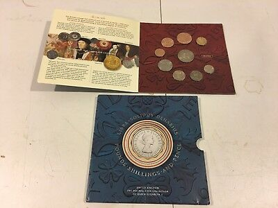 UK Royal Mint Pre-Decimal 9 Coin Collection Queen Elizabeth II in folder (2001)