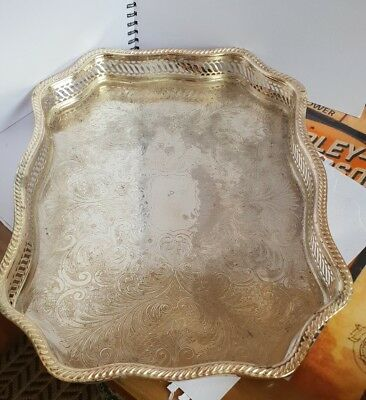 """16"""" vintage large silver plated drinks chased gallery serving tray cocktail"""