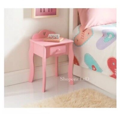 New Amelia Bedside Cabinet Drawer Pink Kids Girls Bedroom Bed Side Table Unit