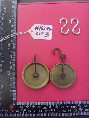 #16276lot3    2 original brass 8 day long case clock pulleys