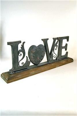 LOVE Ornament Large Metal Freestanding wooden Word on plinth Brown with Gold Hig