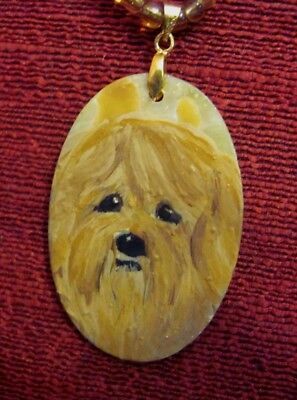 Lhasa Apso hand painted on oval shell pendant/bead/necklace