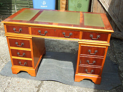 Antique reproduction yew wood pedestal desk 4ft wide (122cm) green leather