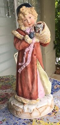 Rare Heubach Christmas Girl With Kitten German Bisque Figurine Piano Baby