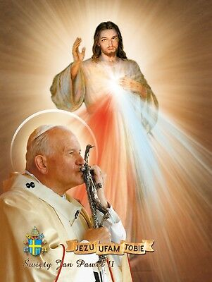 Religious Icon Merciful Jesus John Paul II Icona Misericordioso Gesù Giovanni