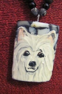 Chinese Crested, powderpuff, hand painted on rectangular pillow pendant/bead/nec