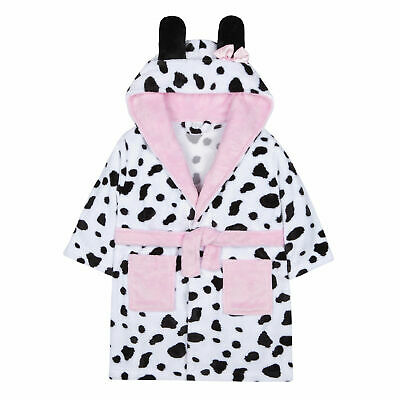 4eeccef1eda92 Infant Girls Dalmatian Print Dressing Gown Robe Plush Fleece Hooded Animal  Soft