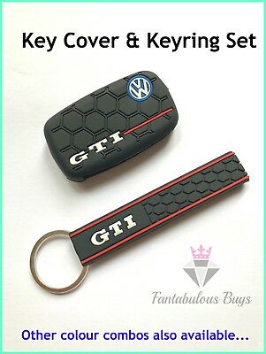 VW GTI Silicone Key Cover & Keyring Keychain Ring Shell Mk5 Mk6 Golf Polo Black