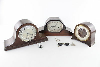 Lot of 3 x Vintage Hand-Wind Mantle Clocks SPARES & REPAIRS Inc Smiths