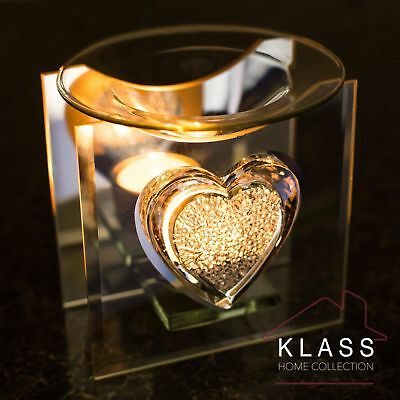 Glass Sparkle Heart Glass Oil Burner Tart Warmer Tea Light Candle Holder Gift