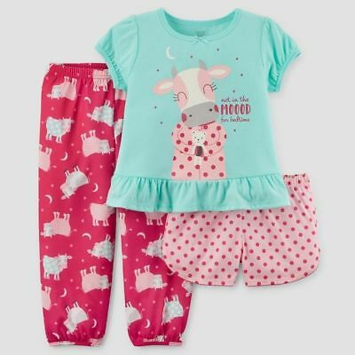Carter's Just One You Girls Cows/Dots 3 Piece Pajamas 3T NWT