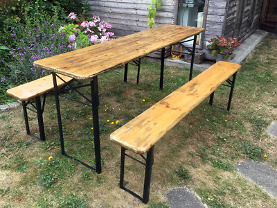 Vintage Bierkeller Table and Benches - Folding - Pub Cafe Bar Trestle Table