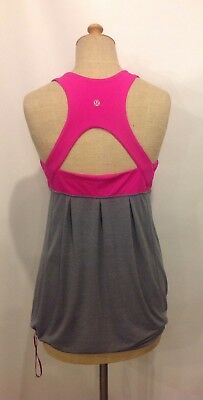 Lululemon Run Your Heart Out Tank Built in Bra Paris Pink And Gray Size 10