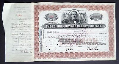 (Theo's own) Portland Cement Stock Certificate Theodore & Charles Edison SIGNED