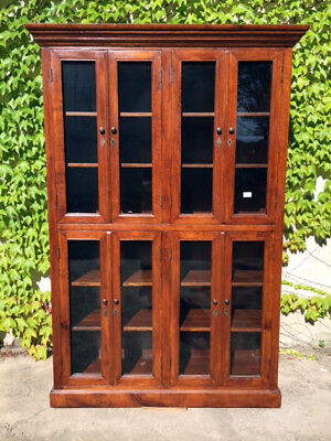 Elegant Bookcase in Oak with 8 doors - Restored