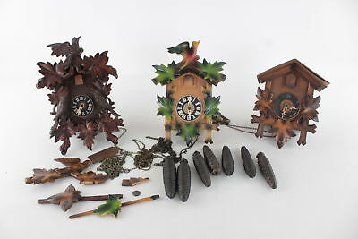 3 x Vintage Continental CUCKOO CLOCKS in Wooden Cases - Spares