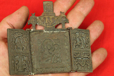 Old Antique Original Folding Russian Brass Bronze Travel Icon Tryptich
