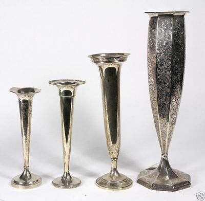 A042  group of 4 estate American sterling silver weighted vases,1,260 grams