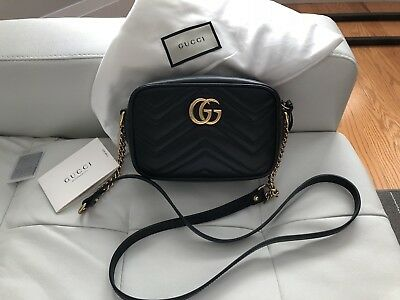 5ac378a48df6 AUTH GUCCI GG Marmont Matelasse mini Camera bag in black Cross Body ...