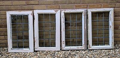 Antique leaded glass windows x4 , solid wood frames, good condition