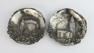 2x Antique IRISH SILVERED METAL PIN DISHES c1920 BLARNEY CASTLE SHANDON CHURCH