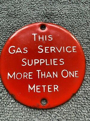 Collectible old enamel gas meter sign