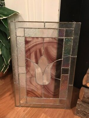 Vintage Stained Glass Window Architectural Salvage With Rose Flower