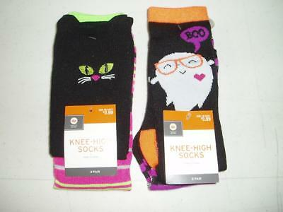 Halloween Youth Girl's Knee-High Socks 4 Pair Medium Cat Ghost