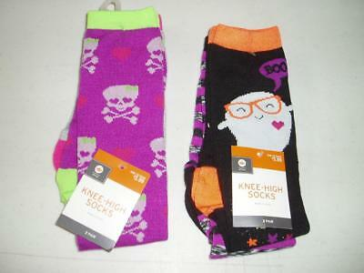 Halloween Youth Girl's Knee-High Socks 4 Pair Large Skull Ghost