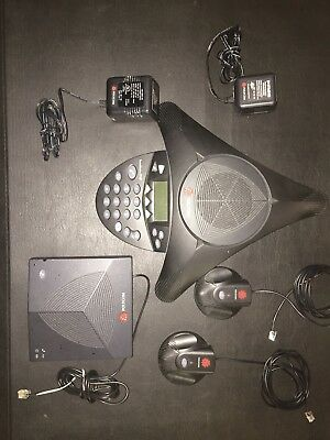 Polycom SoundStation 2W Conference Room Speaker Phone Complete Set With 2 Mic's