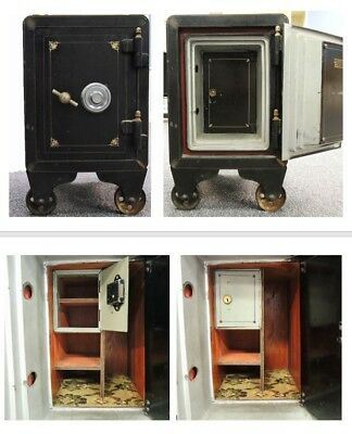 Antique 1800's Iron Safe w/ Combination on Casters w/ Multiple Compartments