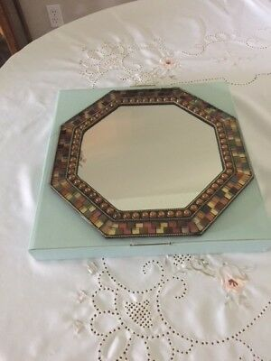RETIRED Partylite Global Fusion Mosaic Mirrored Candle Tray with original box