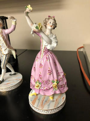"Rare 1900-1940 Antique Dresden Saxony pair Dancing porcelain figurines 8"" tall"