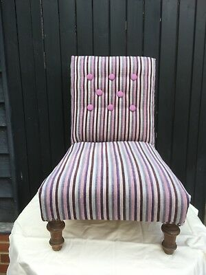 Antique Edwardian Button Backed Nursing Chair Re-Upholstered
