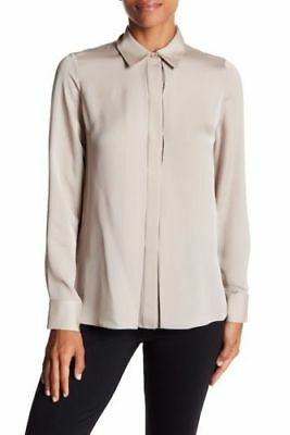 6fc5acc482b8af  295 NWT Vince Hi-Lo Silk Long Sleeve Collared Stucco Button Up Blouse sz 8