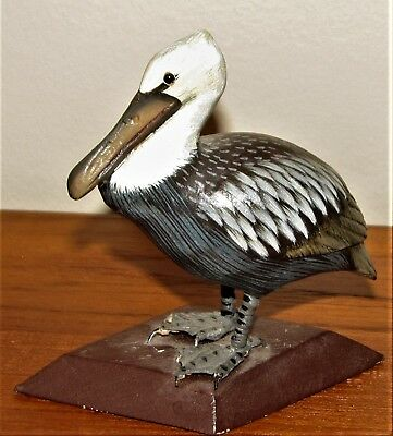 Wooden Hand carved/painted  Brown Pelican -- used