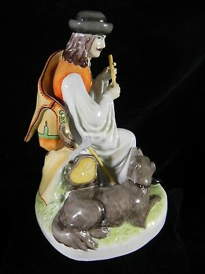 "Zsolnay Pecs 9"" Porcelain Figurine Man with Dog and Flute, Traditional Dress EXC"
